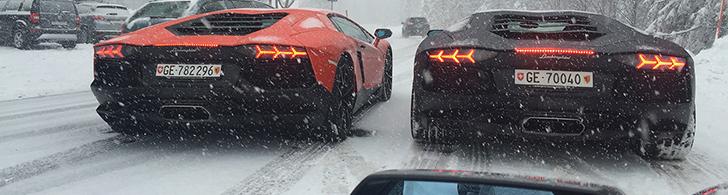Drei Aventador's in einen Schneesturm geraten