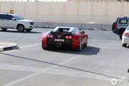 Rood-zwarte Veyron lacht lief in de camera in Doha