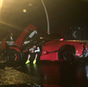 LaFerrari meets the guardrail in Shanghai