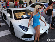Posing on a Lamborghini Aventador
