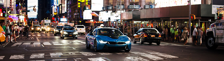 Futuristic BMW i8 spotted in New York City