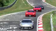 Filmpje: veertig Ferrari F12's op de Ring