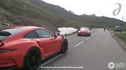 Three sporty Porsches restrain the Galibier