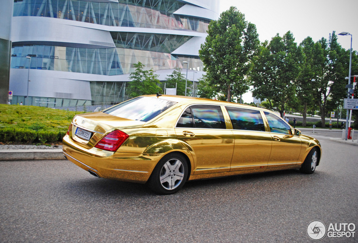 Long luxurious and gold mercedes benz s 600 pullman guard for Mercedes benz s guard for sale