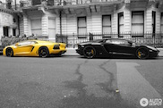 Lamborghini Aventadors turn their backs to each other