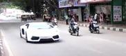 Lamborghini Aventador LP700-4 flying through Bangalore