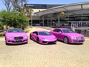 Bentley en Lamborghini kleuren roze voor borstkanker in Zuid-Afrika