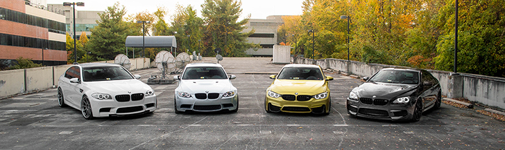 Photoshoot with four BMW M-cars