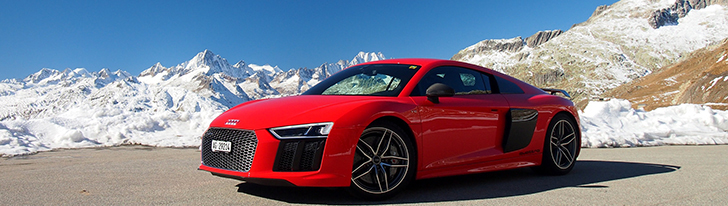 Photoshoot: new Audi R8 V10 Plus in the Swiss Alps