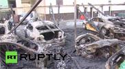 Filmpje: afgebrande auto's doen pijn aan je ogen