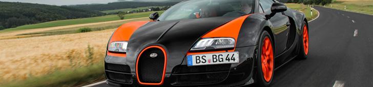 Bugatti Veyron schittert in Duits landschap
