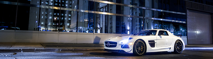Mercedes-Benz SLS AMG Black Series in New York City at night