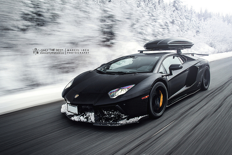 First Lamborghini Ever Made >> Lamborghini Aventador LP700-4 with a roof box is ideal for skiing