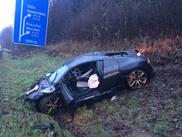 Audi R8 V10 aan puin gereden op autobahn