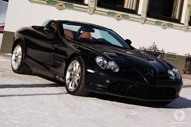 SLR Roadster in de sneeuw