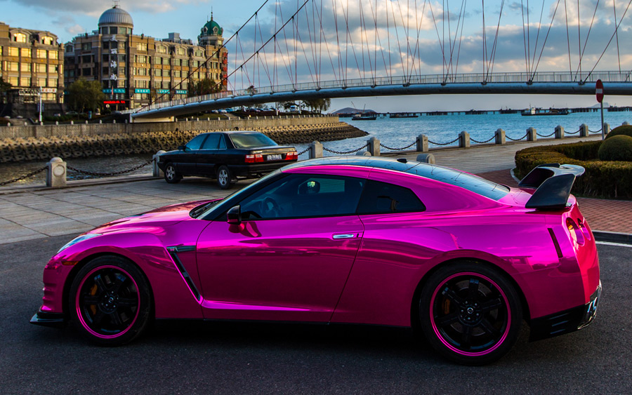 Chrome Pink Wrap For Nissan And Maserati