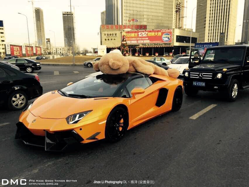 Owner Ties His Teddy Bear On The Roof Of His Lamborghini