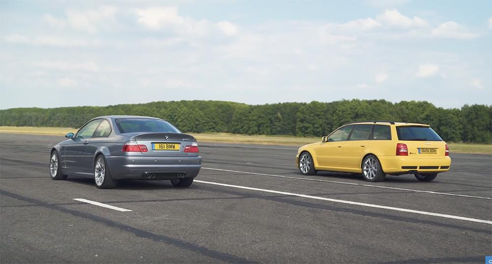 Dragrace: Audi RS4 Avant tegen BMW M3 E46 CSL