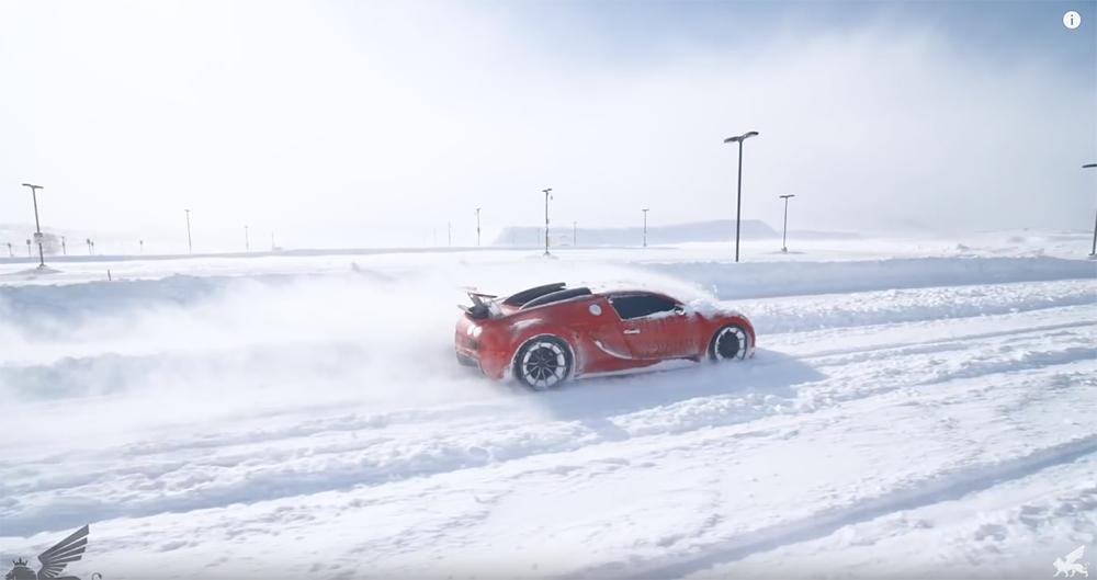 Filmpje: Bugatti Veyron doet dienst als sneeuwschuiver