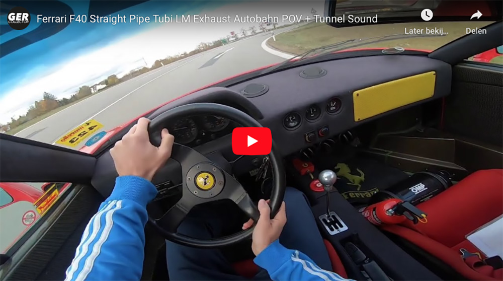 Filmpje: Ferrari F40 met straight pipes jaagt over de autobahn