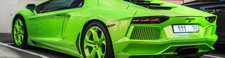 Экстремально яркий Lamborghini Aventador