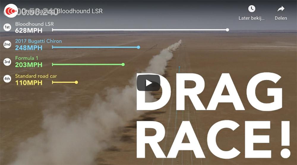 Filmpje: Bloodhound LSR neemt het op tegen Bugatti en Formule 1 auto