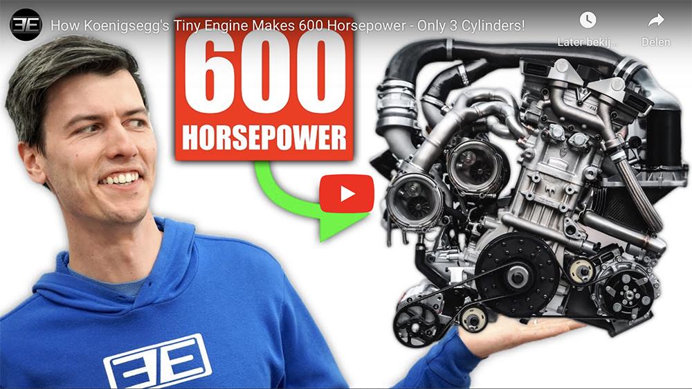 Hoe produceert de drie cilinder van Koenigsegg 600 pk?