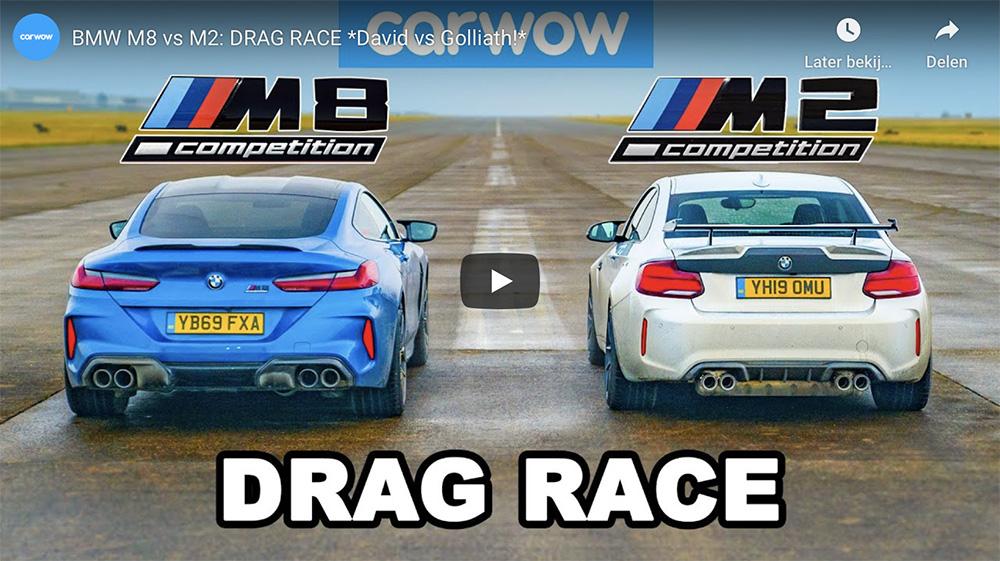 Filmpje: BMW M8 Competition neemt het op tegen M2 Competition