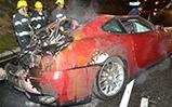 Une Ferrari 612 Scaglietti se crashe et prend feu au Cap