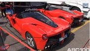 Película: tres Ferraris LaFerrari en Monza