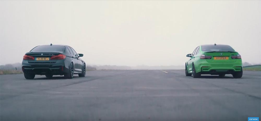 Filmpje: BMW M5 Competition tegen de BMW M3 Competition