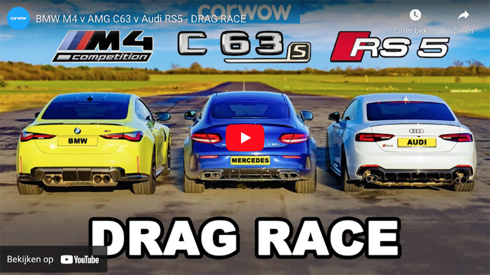 Dragrace: BMW M4 neemt het op tegen Audi RS5 en Mercedes-AMG C 63 S