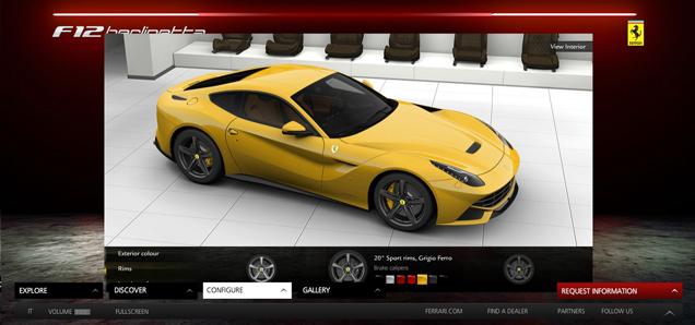 The new Ferrari F12berlinetta configurator