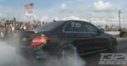 Granny blows everybody away in het C 63 AMG