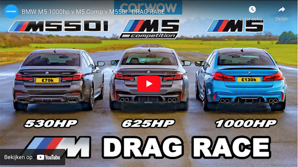 Filmpje: BMW M5 in verschillende varianten nemen het op tegen elkaar