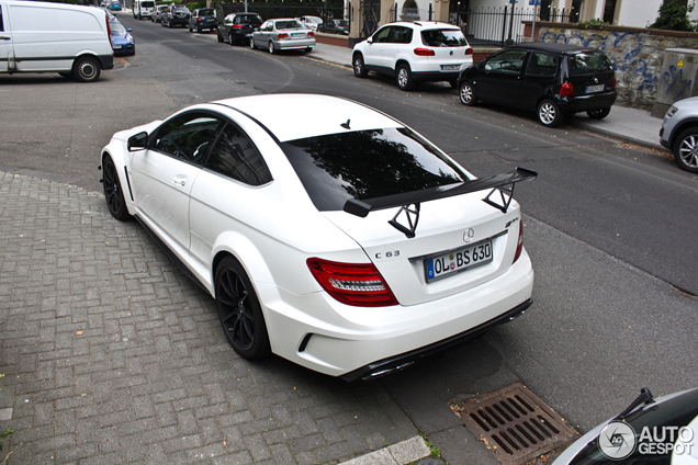 unexpected brutal mercedes c63 amg coup black series in white