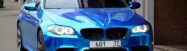 Strange sighting: chrome BMW M5 in Moscow