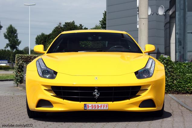 Wie spot hem het eerst? Eerste gele Ferrari FF afgeleverd in België!