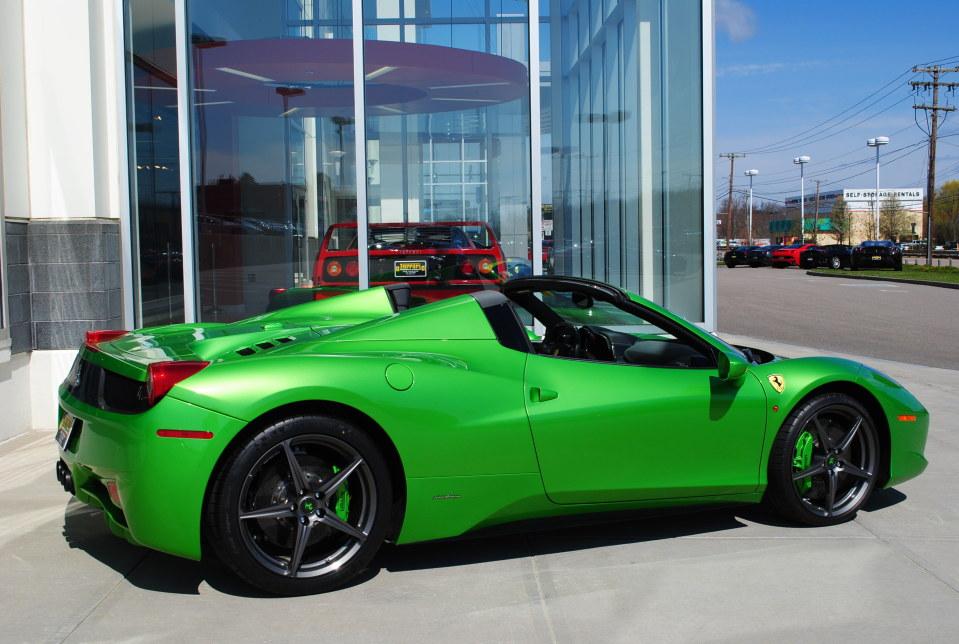 unique ferrari 458 spider is looking for a new owner - Ferrari 458 Spider Green