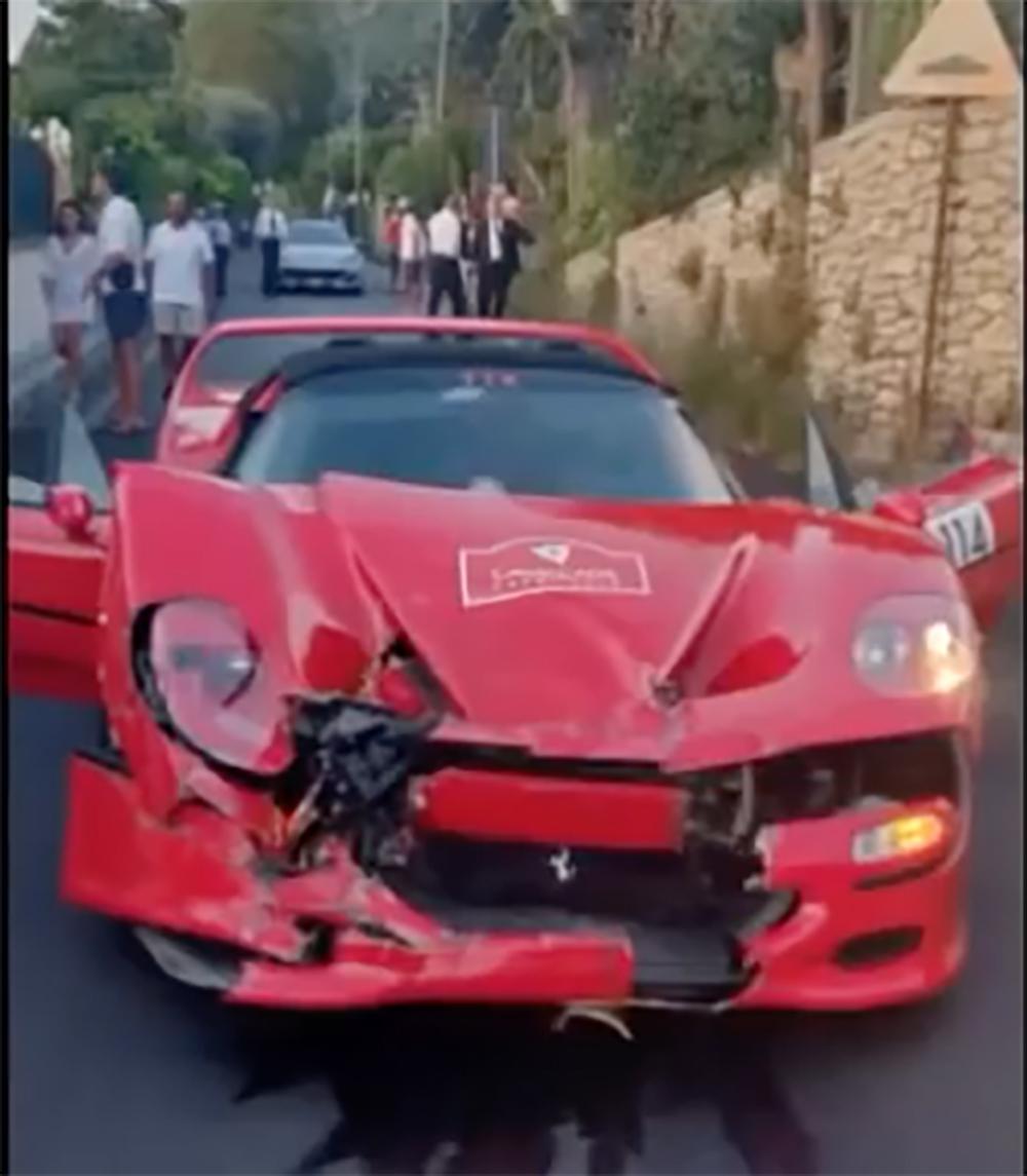 Auw! Ferrari F50 crasht in 488 Pista tijdens Ferrari Cavalcade