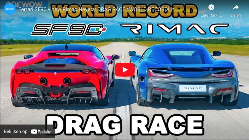 Filmpje: Rimac Nevera geeft Ferrari SF90 Stradale billenkoek