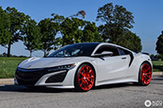 Acura NSX on a set of red HRE's