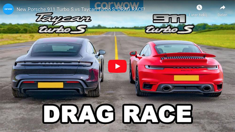 Filmpje: Porsche Taycan Turbo S neemt het op tegen 911 Turbo S