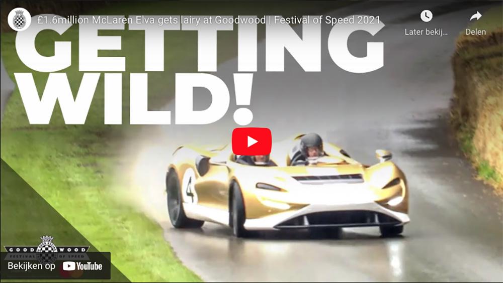Filmpje: McLaren Elva laat niet met zich sollen op een nat Goodwood