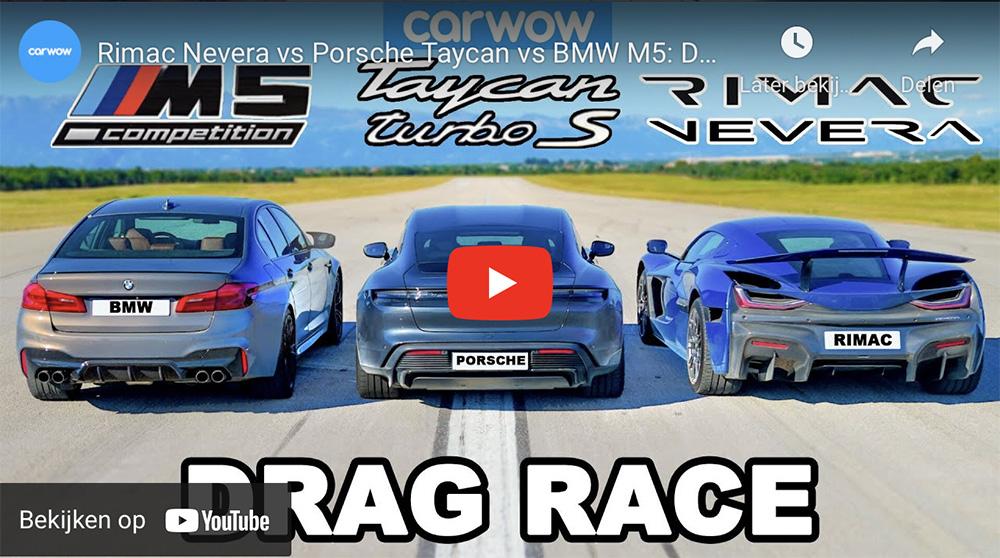 Filmpje: Rimac Nevera mag het nu opnemen tegen Porsche Taycan en BMW M5