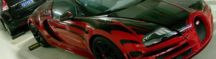 Bugatti Veyron Vitesse has a unique red L'Or Blanc theme