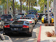 Exotic traffic jam on Rodeo Drive