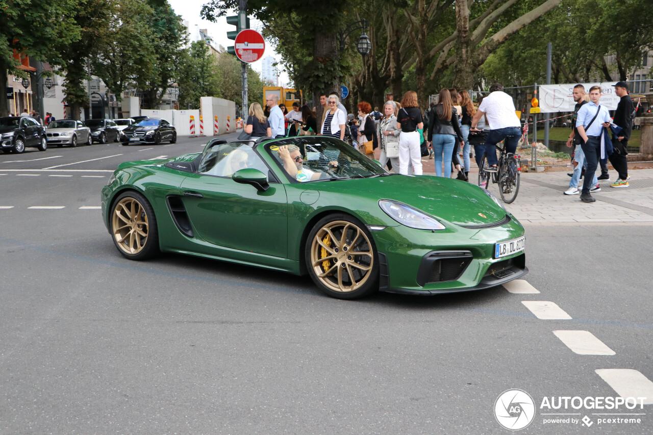 Groene Porsche 718 Boxster Spyder heeft de primeur