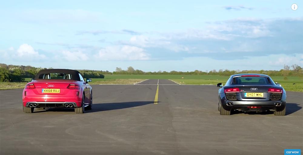 Gloednieuwe Audi TTS Roadster neemt het op tegen Audi R8 V8