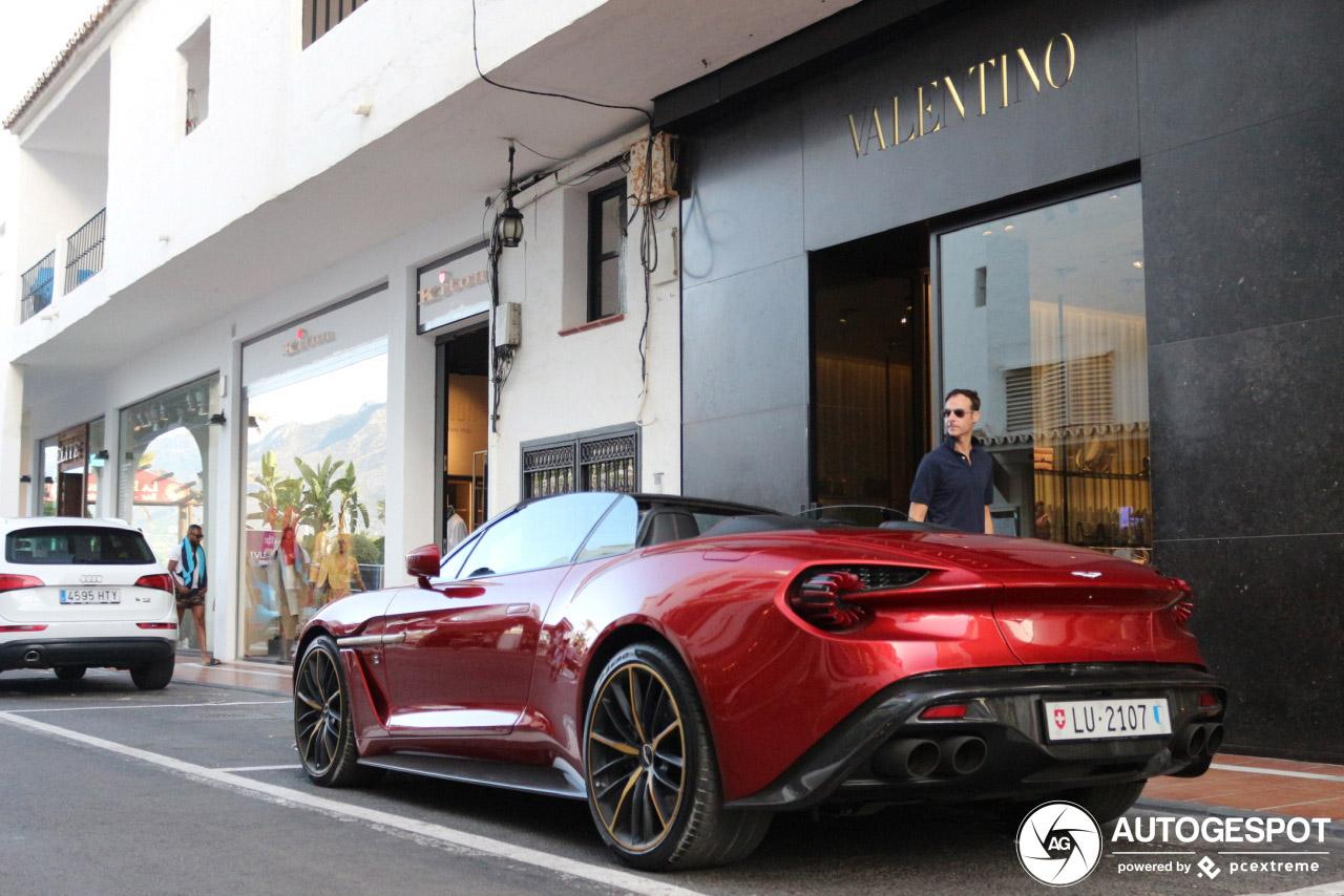 Aston Martin Vanquish Volante Zagato staat nonchalant in Marbella